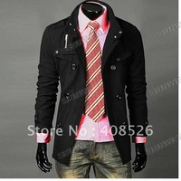 2014 Men Slim Designed Jacket Hot Stylish Woolen Jacket Double Pea Trench Coat black dropshipping 3300