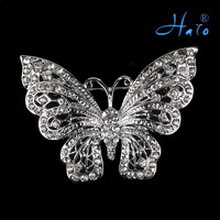 P168-389 Free Shipping 6PCS/Lot Cute Clear Crystal Rhinestone Silver Tone Vintage Inspired Butterfly Broach Pin