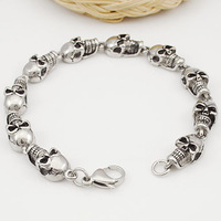ROCK/PUNK Skull Link Bracelets Hand Chain Casting 316L Stainless Steel Mens Jewellery, retail+wholesale Free Shipping VB074