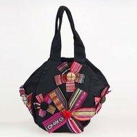 2012 fashionable handmade sling shoulder bag   Hexagon design manual with five flowers handbag  B197