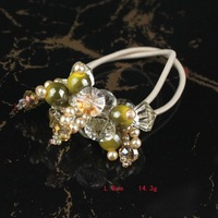 Free Shipping 12pcs/lot Cream Handmade Crystal Flower Hair Ornament Stretchy Fashion Beaded  Ponytail HolderColor HP0004