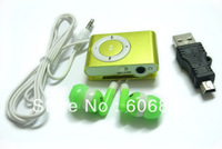 Free shipping 2pcs/lot wholesale factory price support 1-8GB TF card MP3,clip mp3 player with USB charger earphones