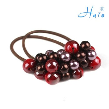 Free Shipping 12pcs/lot Handmade Beaded Elastic Fashion Rhinestone Ponytail Hair Holder HP0023