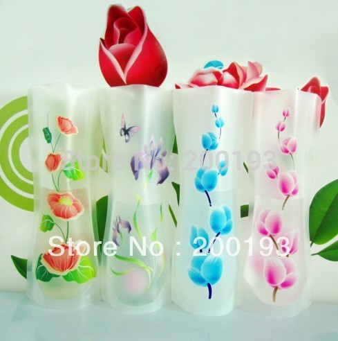 Big sale!!! 10pieces/lot MIX 10 styles small folding vase and colors home decoration plastic folding flower vase(China (Mainland))