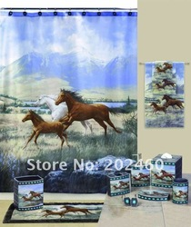 "Free shipping 183cm*183cm Polyester shower curtain Waterproof Mouldproof Decorated with the ""horse"" pattern(YL0008)(China (Mainland))"
