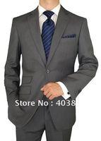 Mens Suit 150's Wool 2 Button Jacket Flat Front Pants Ticket Pocket Custom Working Buttonholes Business Suit Gray MS0271