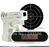 Free shipping Novelty Infrared Shot Gun Alarm Clocks Funny LCD Screen Laser Target Clock Magic Christmas gifts