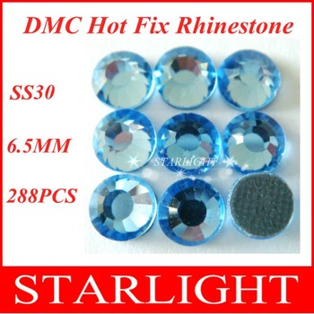 FREE SHIPPING,DMC hot fix rhinestone,Lt. Sapphire Color  SS30,China post air mail free,288pcs/lot