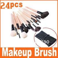 Big discount 24 pcs Best Seller Makeup Brush + Black Leather Case, Free Shipping