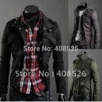 2013 Men's Jacket Casual Stylish Slim Fit Zip Coat Jacket cotton Blends Dark Gray M~XXL 3393