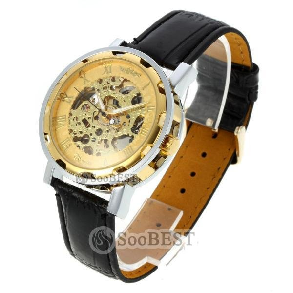 Free Shippiing Men's Leather Strap Roman Markers Golden Inner Bezel Automatic Watch Wristwatch Best For Christmas Gift #553409(China (Mainland))