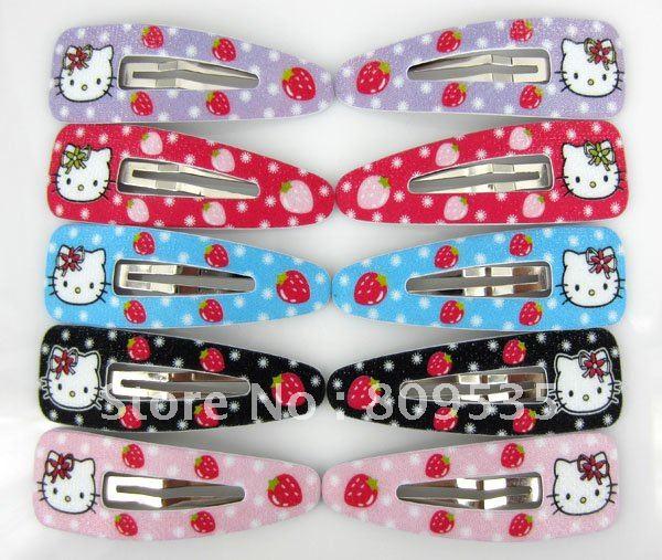 Free Shipping Mixed Color Hello Kitty Children Hair Accessory Haripin Snap Hair Clips Girls 90pcs(China (Mainland))