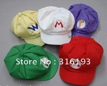 15pcs/lot Super Mario Bros Anime Cosplay Hat,super mario hat, baseball cap,Waluigi Cap free shipping best gift for kids popular