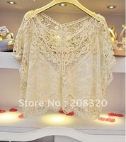 Sweater for Women Hot Sale New Style Gorgeous Crochet Hollow Knit Shawl Pullover Sweater Vest Beige Color One Size