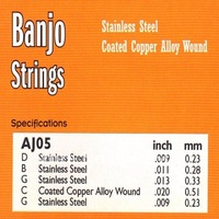 ALICE AJ05, 20 sets Banjo 5 Strings Set, 9 11 13 20 09, D/B/G/C/G, Loop End, Bronze Coated on Copper Wound
