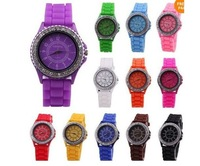 DHL free shipping 50pcs/lot 2013 Fashion ladies silicone rhainstone geneves watches W003
