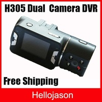 Free Shipping HD Dual Cmera Vehicle DVR Car Driving Recorder  1pcs/lot