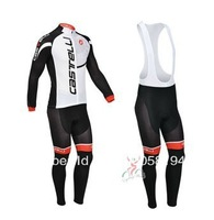 castelli 2013 white&black Winter Thermal Fleece Long Sleeved Cycling Jersey /Cycling wear + Bib pants. 857