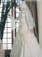 Wholesale and Retail Freeshipping Classical Elegant A-Line Satin Islamic Wedding Dresses / Muslim Wedding Dress