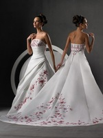 Wholesale and Retail Freeshipping Hot Sale Elegant A-Line Strapless Embroided White Satin Wedding Dress