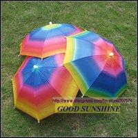Free Shipping Umbrella Hat Sun Umbrella Rainbow Hat Travel Fishing Umbrella TUH001 Sun Shade SPorting Events Gardening - NEW