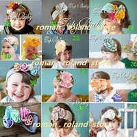 NEWEST STYLE baby headband with flowers/ KIDS hair clips MIXED+wholesale +EMS/DHL free shipping