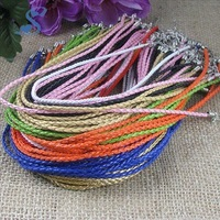 Leather Cords Mix Color Braided Necklace Lines with Lobster Clasps Leather Rope for Pandent Charm Fancy Jewelry NC003