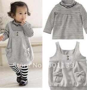 Stock Clearance!! 3 sets Baby Girl T shirt Dress Clothing Set Baby Kids Clothes