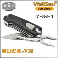 MOQ:1pc OEM 100% Genuine BUCK Knife 731 Black X-Tract LED Multitool Outdoor Survival Folding Knives Tatical Knife Blade #731