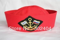 Free shipping cool Captain cap Skipper cap Sailor hat red 3 style