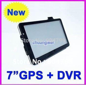 2012 latest style 7 inch GPS navigation, DVR+Bluetooth + AV IN + FM, DDR 128 4GB Win CE 6.0 Free ship