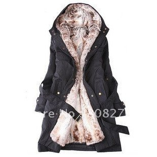 HOT SELL Faux Fur Lining Women Coat and Jacket for Winter Long Warm Outerwear,Black-Beige,S-M-L-XL-XXL,Wholesale