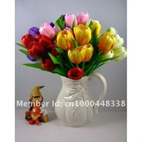 "31 cm /12.20"" Wholesale White Artificial Silk 9 Tulips Wedding Flowers Stems Bouquet Party Home Decoration Ornament 10pcs/Lot"