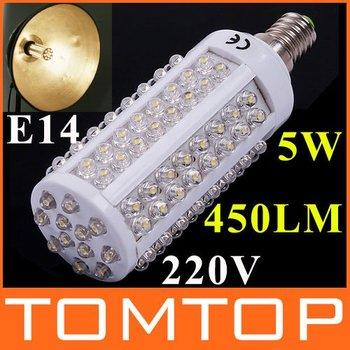 110V/220V 450LM E14 5W 108 LED Corn Light Bulb Lamp Warm White Led lamp free shipping