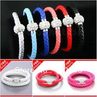 Luxury Rhinestones Bracelet Woven Faux Leather Cord Bracelets Bangle DOUBLE WRAP BRAIDED Wristband 20cm & 40cm Two Kinds Cuff