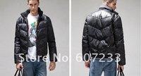 Free Shipping Wholesale Fashion Men's ReaL Fur Collar Hat Down Jacket Detachable Hood  Warm Winter Coat