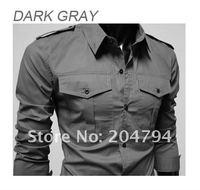 Free Shipping New Mens Casual Slim Fit Stylish Dress Shirts Colour:Black,Gray,US Size:S,M,L,XL 6072