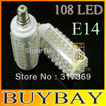 High quality LED bulb 7W E14 220V White/ Warm White light LED lamp with 108 led 360 degree Spot light Free shipping