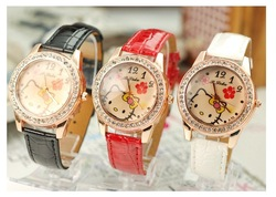 New store openning,promotion watches. Hello Kitty lady fashion quartz wristwatches,black band,w0hite dial,1pce wholesale,(China (Mainland))