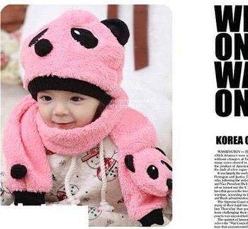 Autumn winter children's hat scarf set , panda Modeling baby hats , velvet ear muff cap Color : white , pink , blue