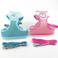 S&M&L Size Reflective Nylon Soft Mesh Padded Dog Pet  Puppy Harness&Leash Set Blue&Pink