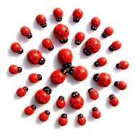 novelty items stickers,wooden ladybug decoration, refrigerator stickers,phone sticker 1000pcs wholesale free shipping ladybird