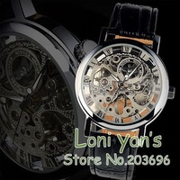 WINNER Luxury Watches Men's Silver See Through Sports Mechanical Wristwatch Xmas Gift Free Ship