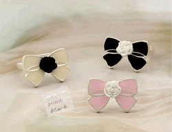 Min.order is $15 (mix order) New Cute Flower Bowknot Fashion Ring Size 7, Resizable, J1022(China (Mainland))
