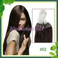 Free Shipping 16'' 18'' 20'' 22'' 24'' Indian Micro/Loop Human Hair Extensions #02 dark brown,100s per pack