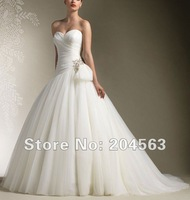 Free shipping Asymmetrical Pleated Tulle Wedding Dress With Cap Sleeves 2012 Custom size/color