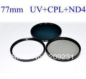 Free shipping High Quality Optical Glass 77mm 77mm UV+ND4+CPL Lens Filter Kit+free bag