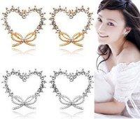 Free Shipping Gift Bag hotselling Zircon Wholesale Korean fashion Austrian Crystal love Butterfly Node Earring silver gold 2834