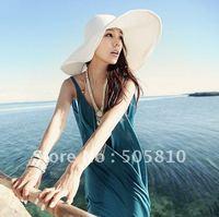 Whole sale - Free Shipping - Straw Hat Wide Brim Floppy Foldable Summer Beach Women Straw Sun Hat Cap New #032