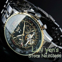 New 2014  JARAGAR    Luxury Swiss Automatic Mens Multi Function Watch Black Mechanical Watches Gift Wristwatch